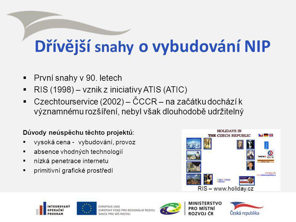 Dřívější snahy o vybudování NIP  První snahy v 90. letech  RIS (1998) – vznik z iniciativy ATIS (ATIC)  Czechtourservice (2002) – ČCCR – na začátku
