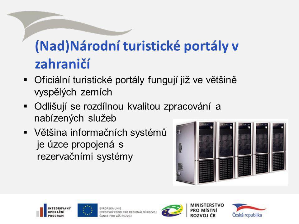 (Nad)Národní turistické portály v zahraničí  Oficiální turistické portály fungují již ve většině vyspělých zemích  Odlišují se rozdílnou kvalitou zpracování a nabízených služeb  Většina informačních systémů je úzce propojená s rezervačními systémy