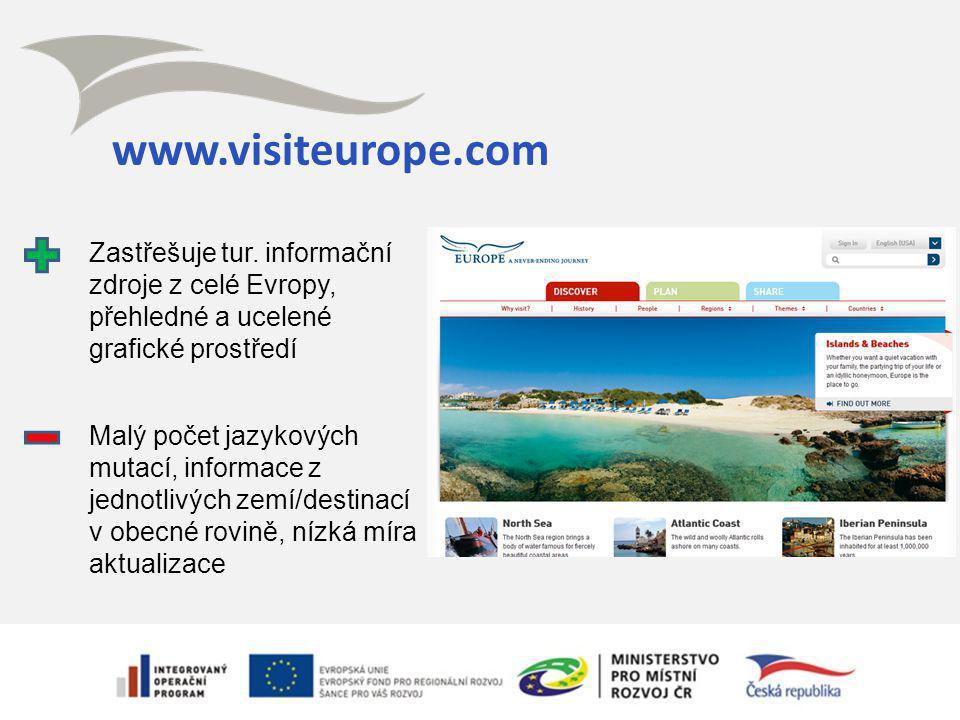 www.visiteurope.com Zastřešuje tur. informační zdroje z celé Evropy, přehledné a ucelené grafické prostředí Malý počet jazykových mutací, informace z