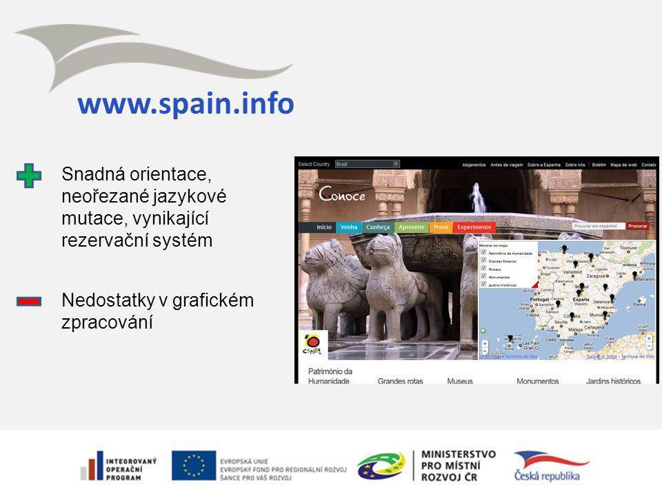 www.spain.info Snadná orientace, neořezané jazykové mutace, vynikající rezervační systém Nedostatky v grafickém zpracování
