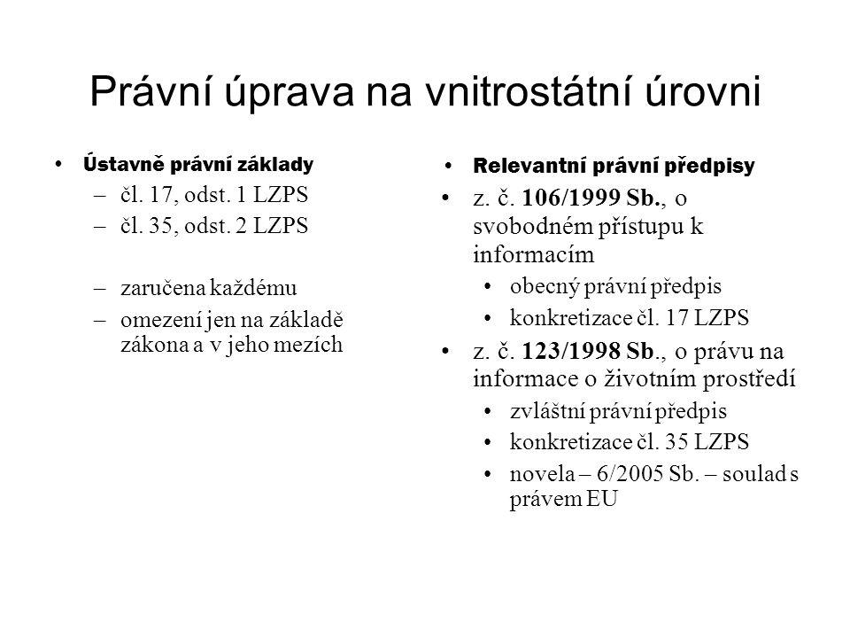 Právní úprava na vnitrostátní úrovni Ústavně právní základy –čl.