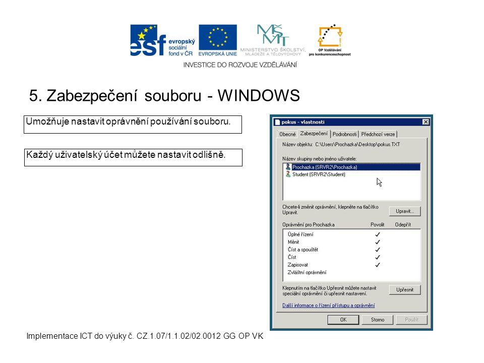 5. Zabezpečení souboru - WINDOWS Implementace ICT do výuky č.