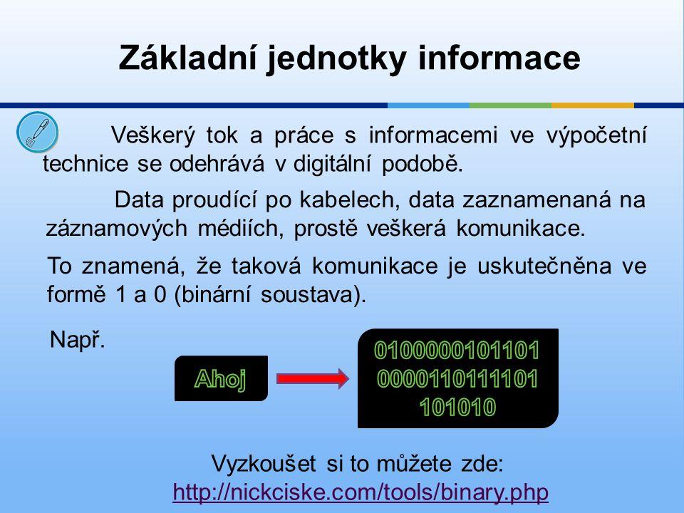 Základní jednotky: 1 bit (b)1 nebo 0 1 byte (B)8 bitů 1 kilobyte (kB)1024 bytů 1 megabyte (MB)1024 kilobytů 1 gigabyte (GB)1024 megabytů 1 terabyte (TB)1024 gigabytů Základní jednotky informace
