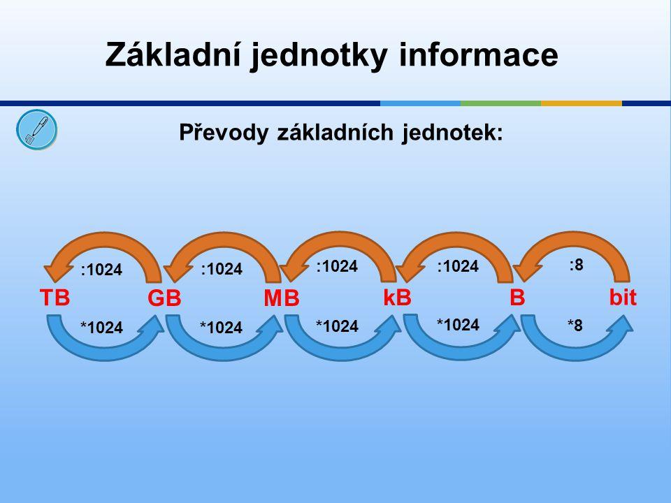 Převeď následující příklady: 15 MB = B Základní jednotky informace 700 B = b 25 600 kB =MB 4,7 GB = MB 15 728 640 5600 4812,8 25