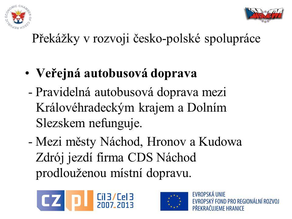 14 Překážky v rozvoji česko-polské spolupráce Veřejná autobusová doprava - Pravidelná autobusová doprava mezi Královéhradeckým krajem a Dolním Slezskem nefunguje.