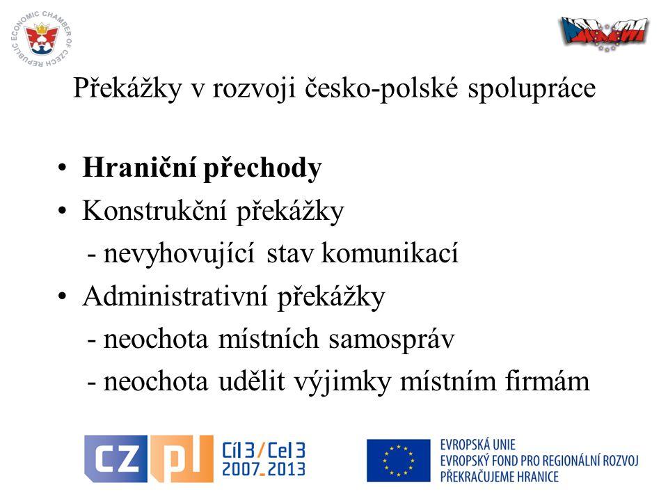 18 Překážky v rozvoji česko-polské spolupráce Hraniční přechody Konstrukční překážky - nevyhovující stav komunikací Administrativní překážky - neochota místních samospráv - neochota udělit výjimky místním firmám