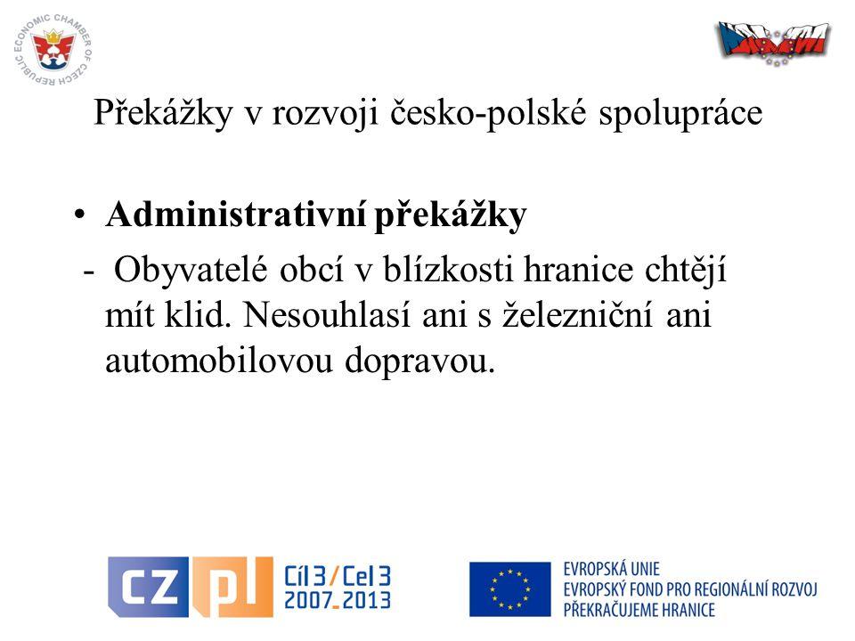 30 Překážky v rozvoji česko-polské spolupráce Administrativní překážky - Obyvatelé obcí v blízkosti hranice chtějí mít klid.