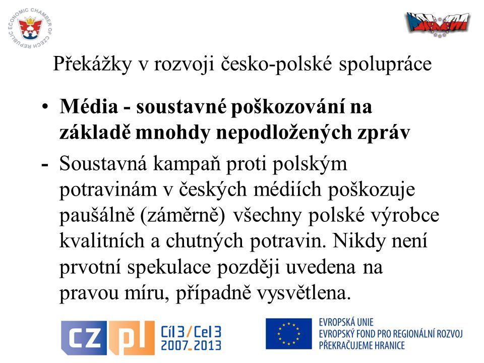 Překážky v rozvoji česko-polské spolupráce Média - soustavné poškozování na základě mnohdy nepodložených zpráv - Soustavná kampaň proti polským potravinám v českých médiích poškozuje paušálně (záměrně) všechny polské výrobce kvalitních a chutných potravin.