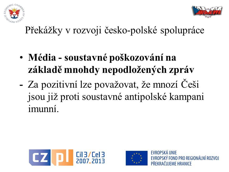 44 Překážky v rozvoji česko-polské spolupráce Média - soustavné poškozování na základě mnohdy nepodložených zpráv - Za pozitivní lze považovat, že mnozí Češi jsou již proti soustavné antipolské kampani imunní.