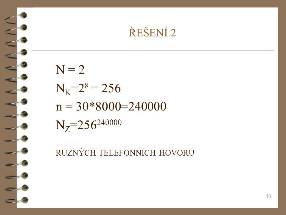 40 ŘEŠENÍ 2 N = 2 N K =2 8 = 256 n = 30*8000=240000 N Z =256 240000 RŮZNÝCH TELEFONNÍCH HOVORŮ