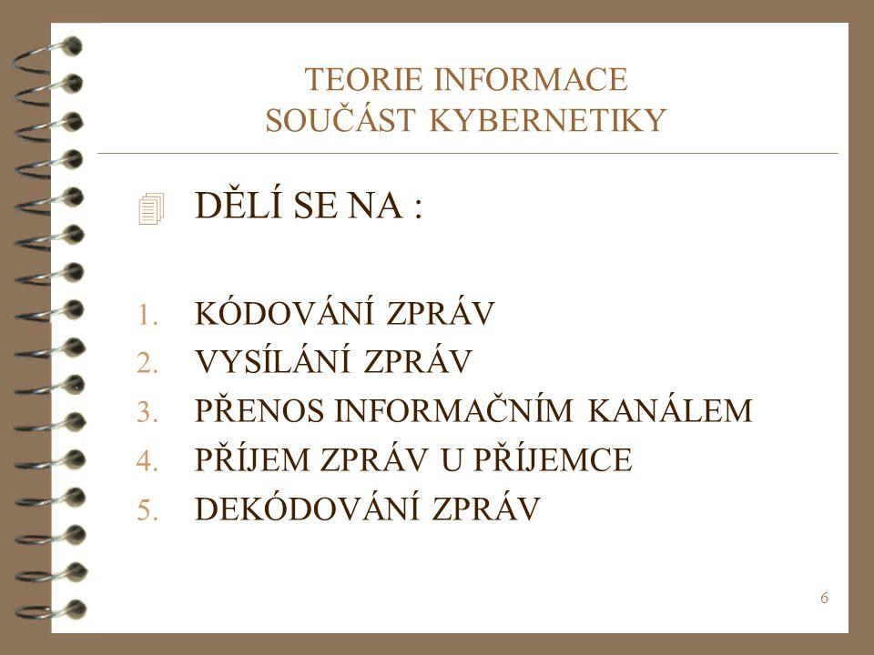 6 TEORIE INFORMACE SOUČÁST KYBERNETIKY 4 DĚLÍ SE NA : 1. KÓDOVÁNÍ ZPRÁV 2. VYSÍLÁNÍ ZPRÁV 3. PŘENOS INFORMAČNÍM KANÁLEM 4. PŘÍJEM ZPRÁV U PŘÍJEMCE 5.