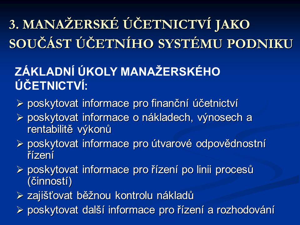 3. MANAŽERSKÉ ÚČETNICTVÍ JAKO SOUČÁST ÚČETNÍHO SYSTÉMU PODNIKU ZÁKLADNÍ ÚKOLY MANAŽERSKÉHO ÚČETNICTVÍ:  poskytovat informace pro finanční účetnictví