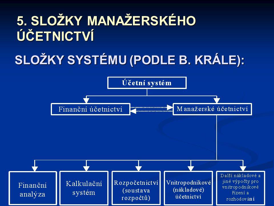 5. SLOŽKY MANAŽERSKÉHO ÚČETNICTVÍ SLOŽKY SYSTÉMU (PODLE B. KRÁLE):