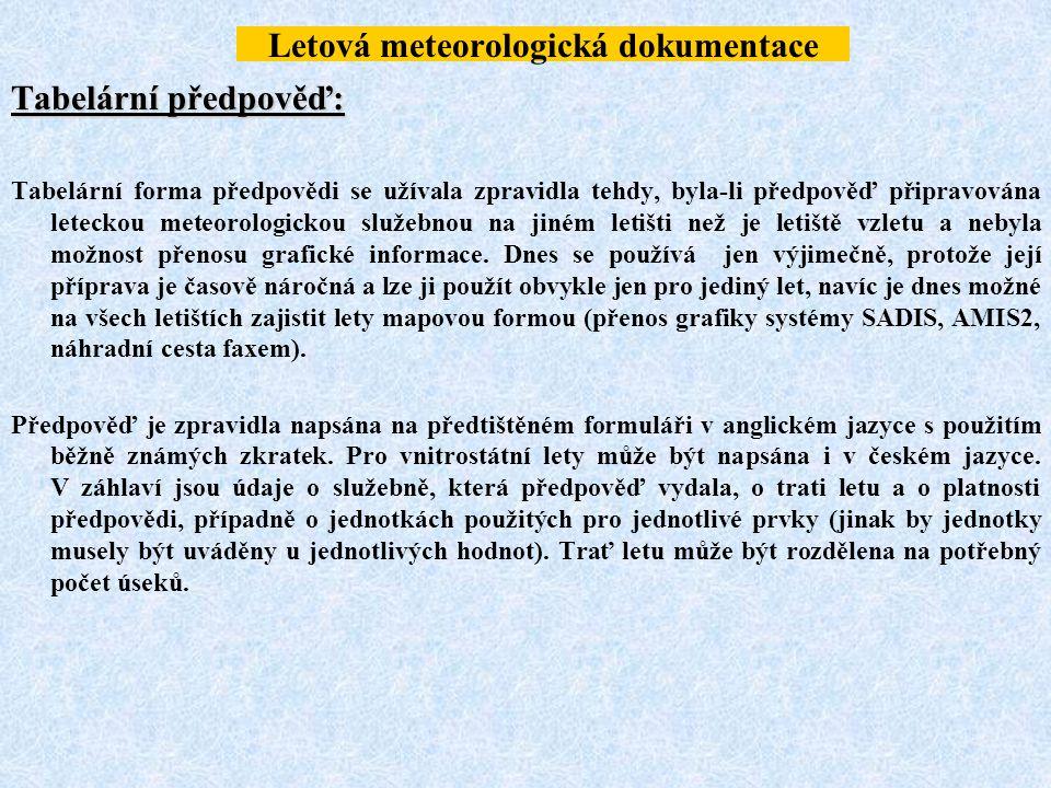 Letová meteorologická dokumentace Tabelární předpověď: Tabelární forma předpovědi se užívala zpravidla tehdy, byla-li předpověď připravována leteckou