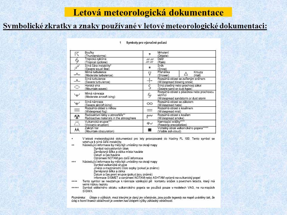 Letová meteorologická dokumentace Symbolické zkratky a znaky používané v letové meteorologické dokumentaci: