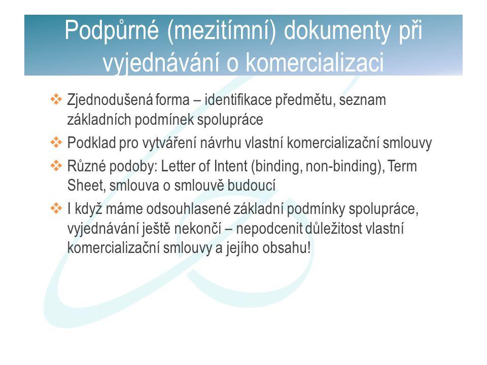 Podpůrné (mezitímní) dokumenty při vyjednávání o komercializaci  Zjednodušená forma – identifikace předmětu, seznam základních podmínek spolupráce 
