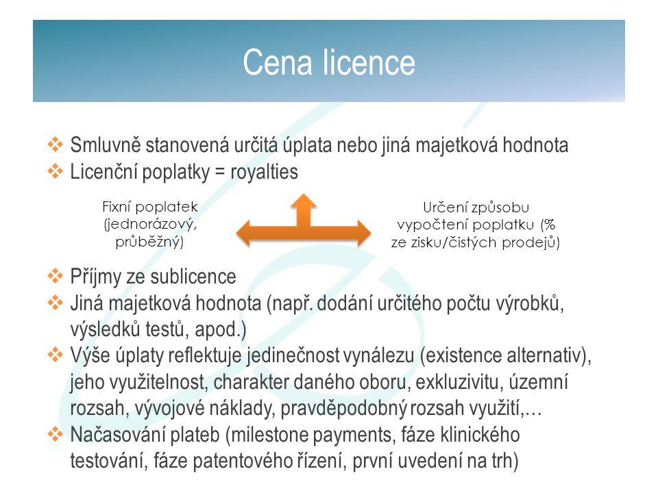 Cena licence  Smluvně stanovená určitá úplata nebo jiná majetková hodnota  Licenční poplatky = royalties  Příjmy ze sublicence  Jiná majetková hod