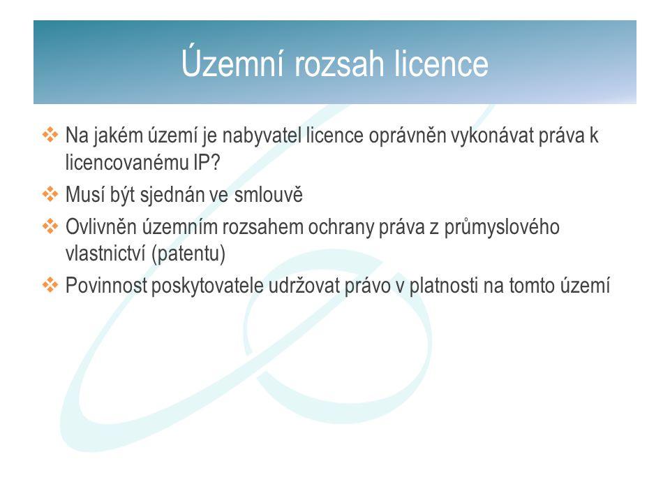  Na jakém území je nabyvatel licence oprávněn vykonávat práva k licencovanému IP?  Musí být sjednán ve smlouvě  Ovlivněn územním rozsahem ochrany p