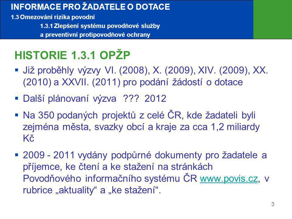 3 HISTORIE 1.3.1 OPŽP  Již proběhly výzvy VI. (2008), X. (2009), XIV. (2009), XX. (2010) a XXVII. (2011) pro podání žádostí o dotace  Další plánovan