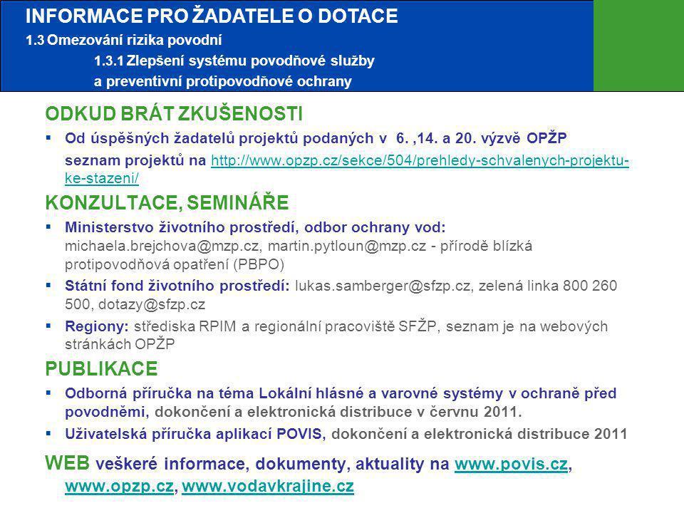 Ideálně 6 měsíců před otevřením výzvy Problémy s povodněmi v obci, ve městě Prostudování informací o oblasti podpory 1.3.