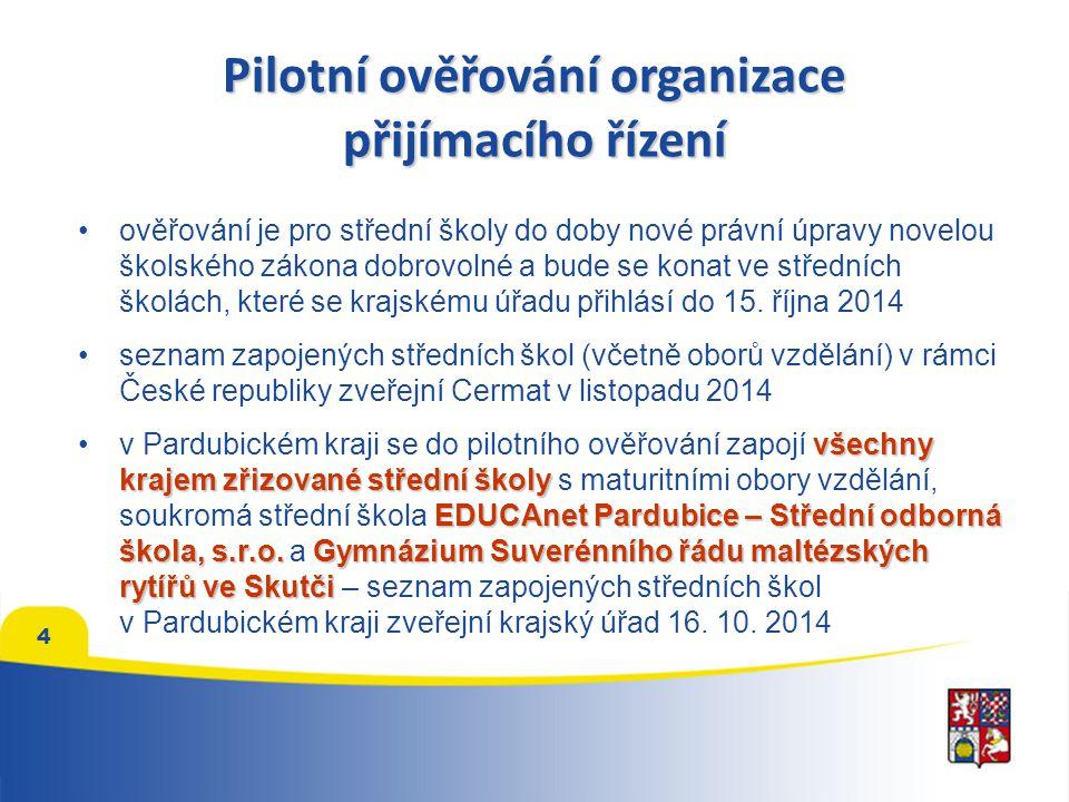 Pilotní ověřování organizace přijímacího řízení ověřování je pro střední školy do doby nové právní úpravy novelou školského zákona dobrovolné a bude se konat ve středních školách, které se krajskému úřadu přihlásí do 15.