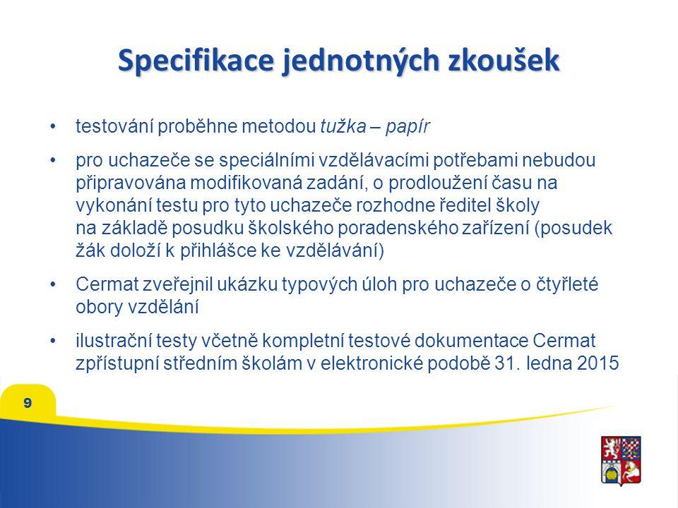 Specifikace jednotných zkoušek testování proběhne metodou tužka – papír pro uchazeče se speciálními vzdělávacími potřebami nebudou připravována modifikovaná zadání, o prodloužení času na vykonání testu pro tyto uchazeče rozhodne ředitel školy na základě posudku školského poradenského zařízení (posudek žák doloží k přihlášce ke vzdělávání) Cermat zveřejnil ukázku typových úloh pro uchazeče o čtyřleté obory vzdělání ilustrační testy včetně kompletní testové dokumentace Cermat zpřístupní středním školám v elektronické podobě 31.