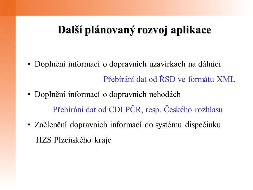 Další plánovaný rozvoj aplikace Doplnění informací o dopravních uzavírkách na dálnici Přebírání dat od ŘSD ve formátu XML Doplnění informací o dopravních nehodách Přebírání dat od CDI PČR, resp.