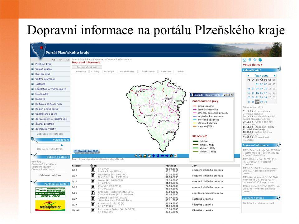 Dopravní informace na portálu Plzeňského kraje
