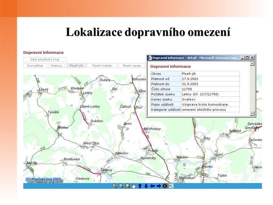 Lokalizace dopravního omezení