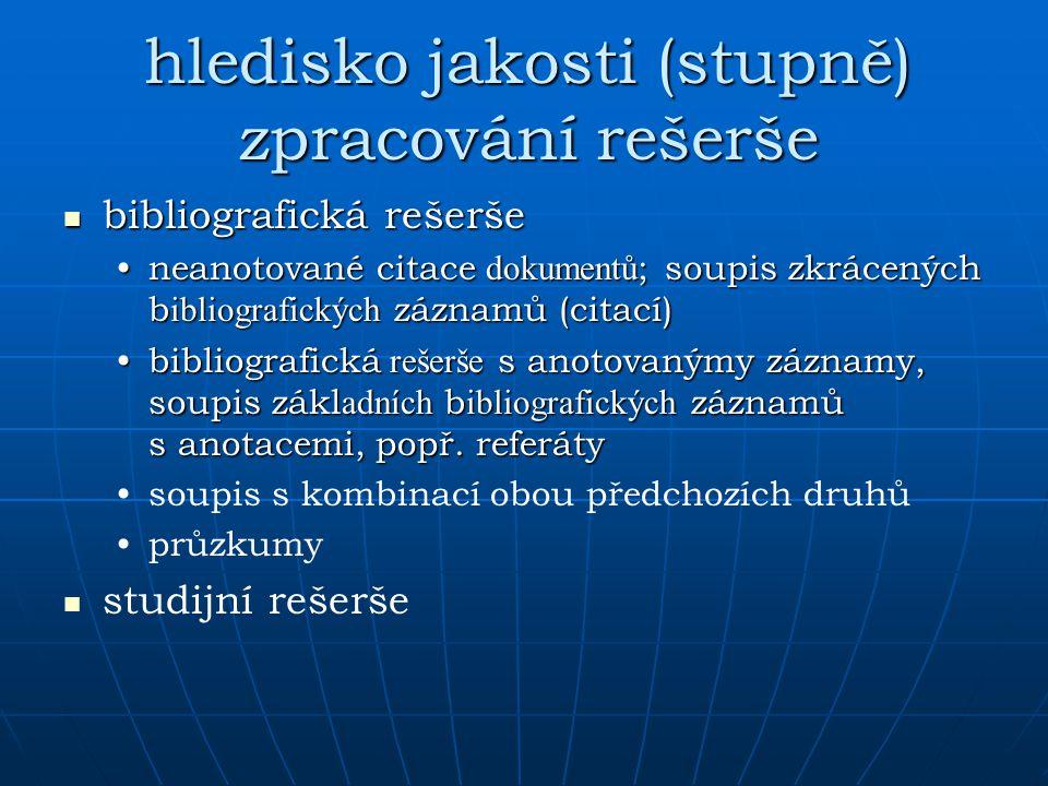 hledisko jakosti (stupně) zpracování rešerše bibliografická rešerše bibliografická rešerše neanotované citace dokumentů ; soupis zkrácených b ibliogra