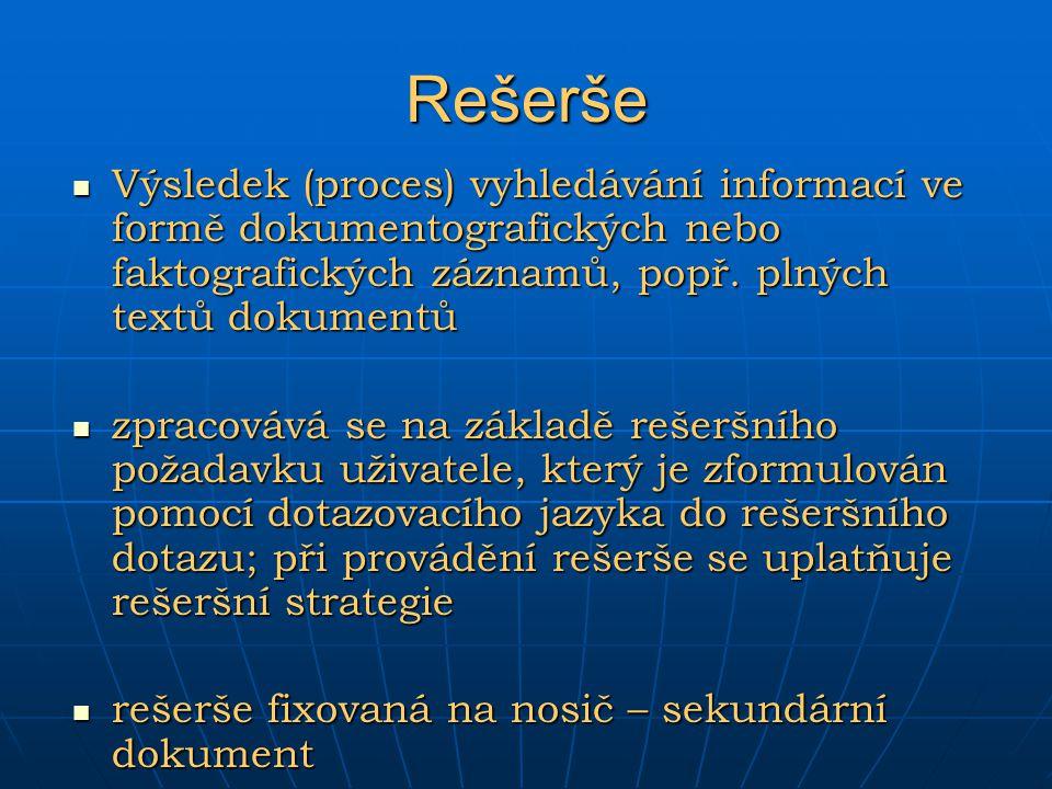 Rešerše Výsledek (proces) vyhledávání informací ve formě dokumentografických nebo faktografických záznamů, popř. plných textů dokumentů Výsledek (proc