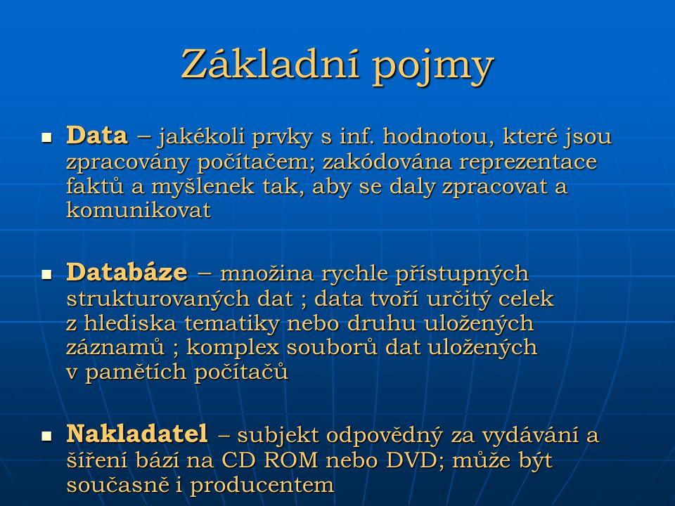 Základní pojmy Data – jakékoli prvky s inf. hodnotou, které jsou zpracovány počítačem; zakódována reprezentace faktů a myšlenek tak, aby se daly zprac