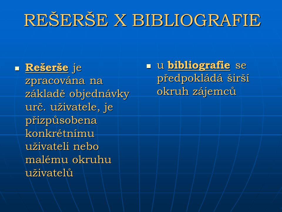 REŠERŠE X BIBLIOGRAFIE u bibliografie se předpokládá širší okruh zájemců u bibliografie se předpokládá širší okruh zájemců Rešerše je zpracována na zá