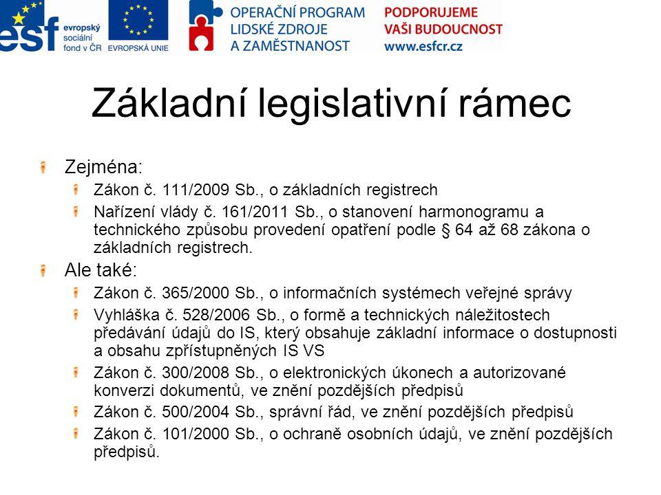 Základní legislativní rámec Zejména: Zákon č. 111/2009 Sb., o základních registrech Nařízení vlády č. 161/2011 Sb., o stanovení harmonogramu a technic