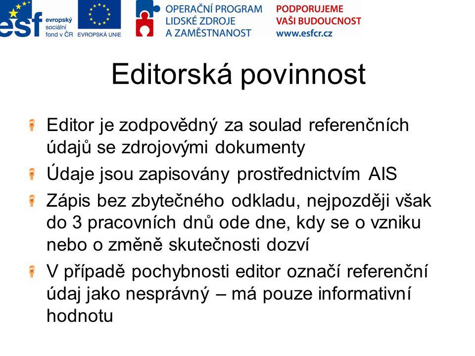 Editorská povinnost Editor je zodpovědný za soulad referenčních údajů se zdrojovými dokumenty Údaje jsou zapisovány prostřednictvím AIS Zápis bez zbyt