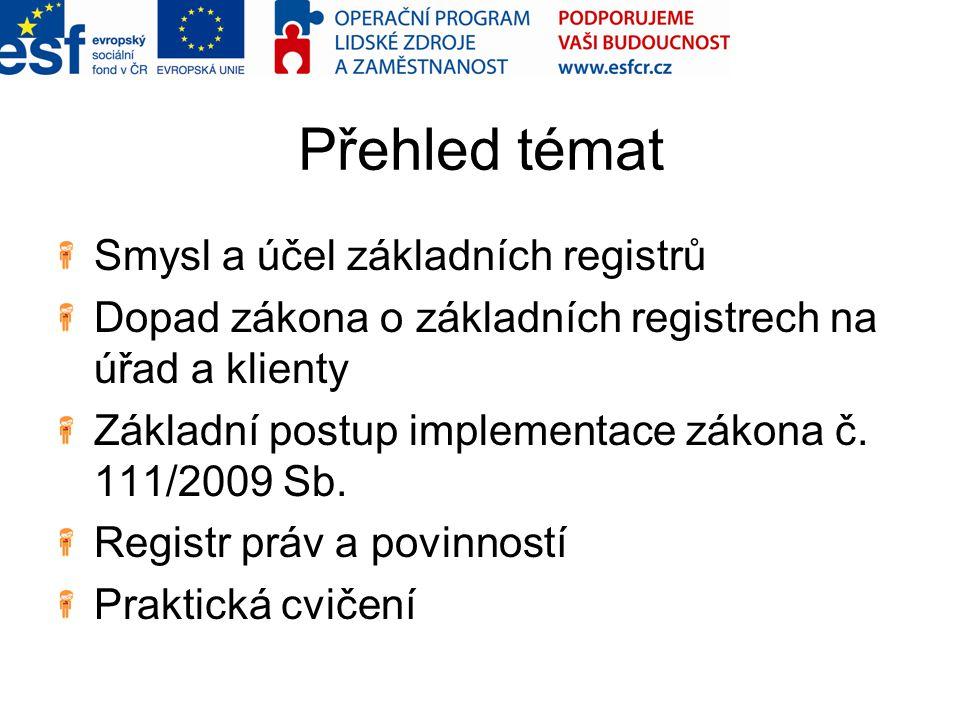 Přehled témat Smysl a účel základních registrů Dopad zákona o základních registrech na úřad a klienty Základní postup implementace zákona č. 111/2009