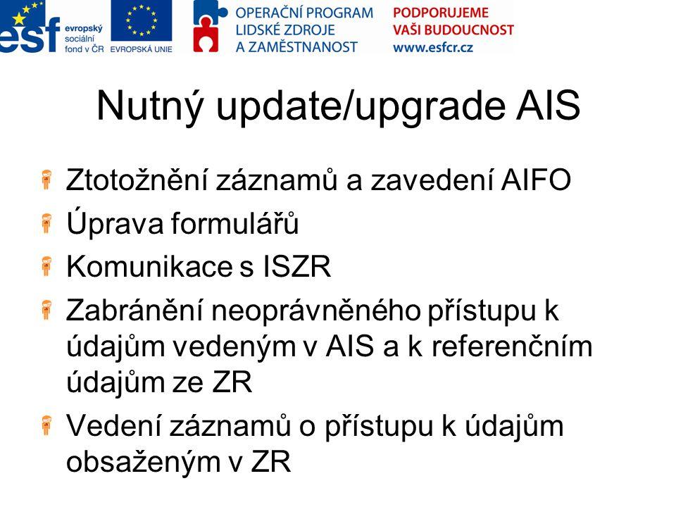 Nutný update/upgrade AIS Ztotožnění záznamů a zavedení AIFO Úprava formulářů Komunikace s ISZR Zabránění neoprávněného přístupu k údajům vedeným v AIS a k referenčním údajům ze ZR Vedení záznamů o přístupu k údajům obsaženým v ZR