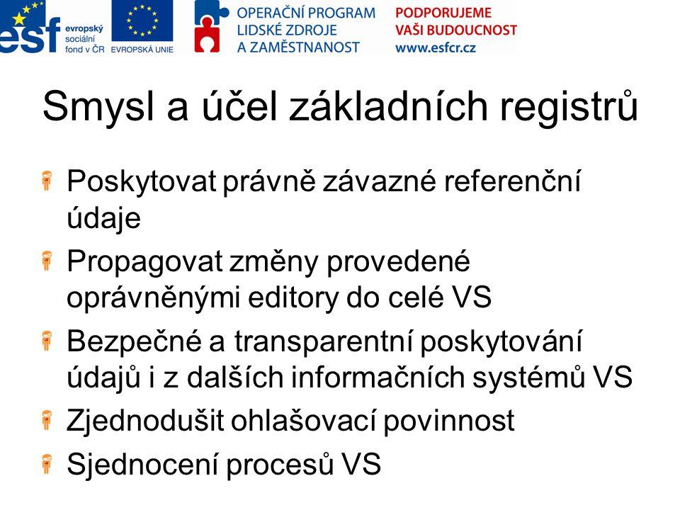 Smysl a účel základních registrů Poskytovat právně závazné referenční údaje Propagovat změny provedené oprávněnými editory do celé VS Bezpečné a transparentní poskytování údajů i z dalších informačních systémů VS Zjednodušit ohlašovací povinnost Sjednocení procesů VS