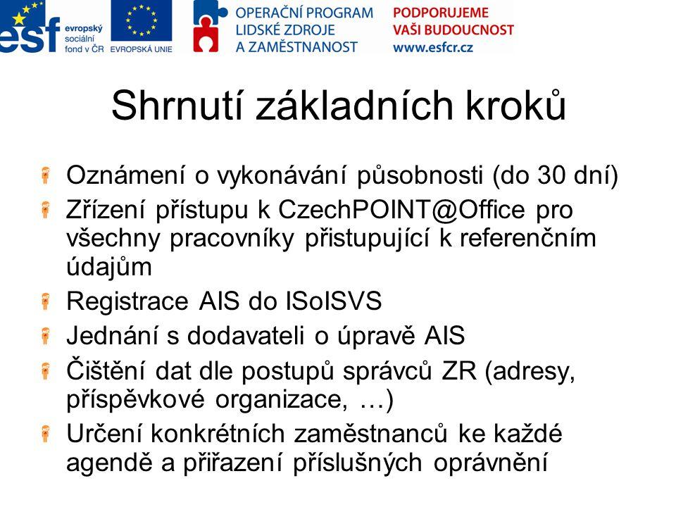 Shrnutí základních kroků Oznámení o vykonávání působnosti (do 30 dní) Zřízení přístupu k CzechPOINT@Office pro všechny pracovníky přistupující k referenčním údajům Registrace AIS do ISoISVS Jednání s dodavateli o úpravě AIS Čištění dat dle postupů správců ZR (adresy, příspěvkové organizace, …) Určení konkrétních zaměstnanců ke každé agendě a přiřazení příslušných oprávnění