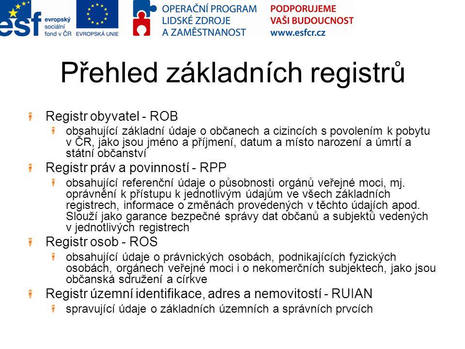 Přehled základních registrů Registr obyvatel - ROB obsahující základní údaje o občanech a cizincích s povolením k pobytu v ČR, jako jsou jméno a příjmení, datum a místo narození a úmrtí a státní občanství Registr práv a povinností - RPP obsahující referenční údaje o působnosti orgánů veřejné moci, mj.