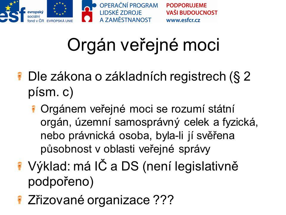 Orgán veřejné moci Dle zákona o základních registrech (§ 2 písm.