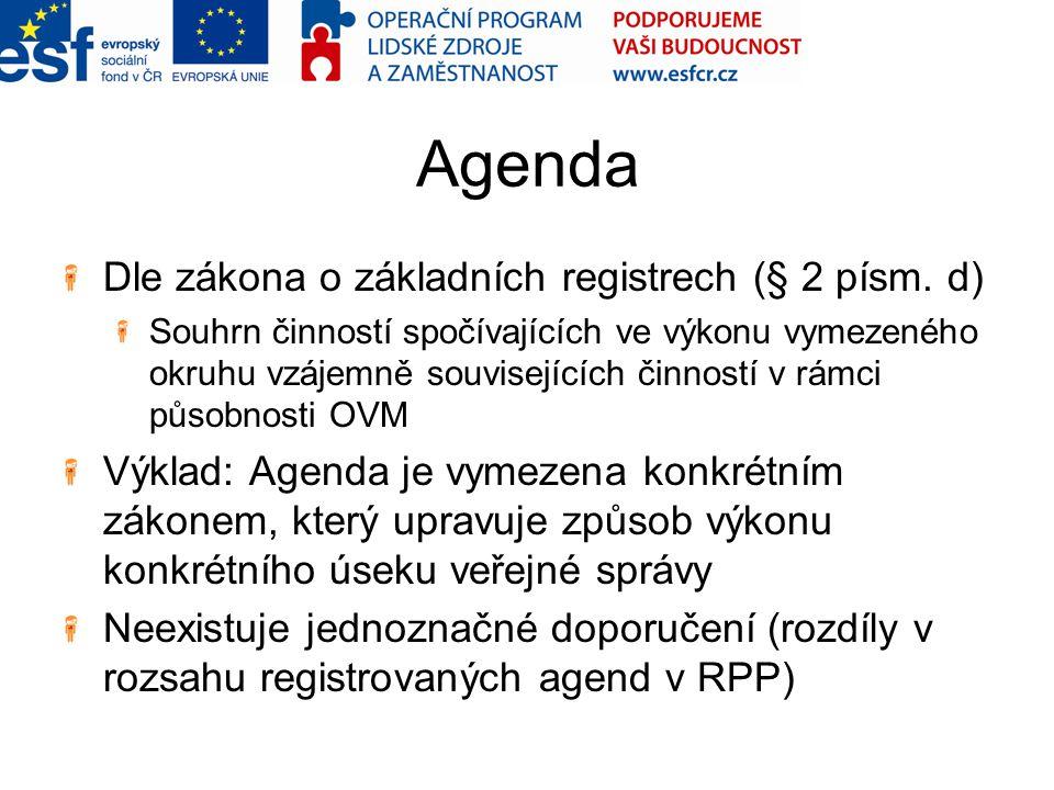 Agenda Dle zákona o základních registrech (§ 2 písm. d) Souhrn činností spočívajících ve výkonu vymezeného okruhu vzájemně souvisejících činností v rá