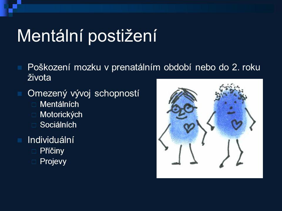 Mentální postižení Poškození mozku v prenatálním období nebo do 2.