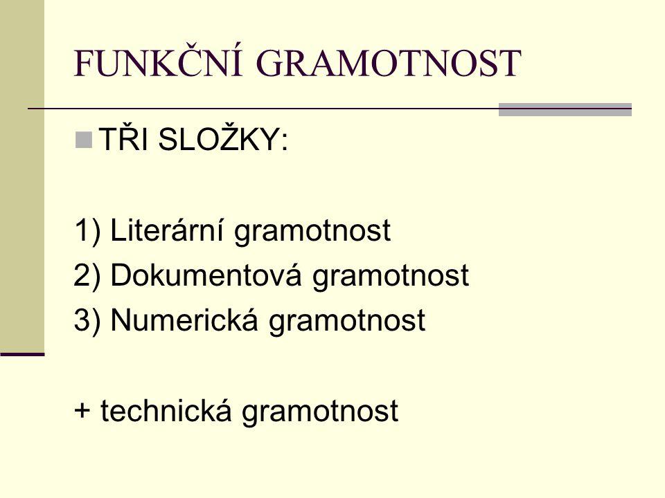 FUNKČNÍ GRAMOTNOST TŘI SLOŽKY: 1) Literární gramotnost 2) Dokumentová gramotnost 3) Numerická gramotnost + technická gramotnost