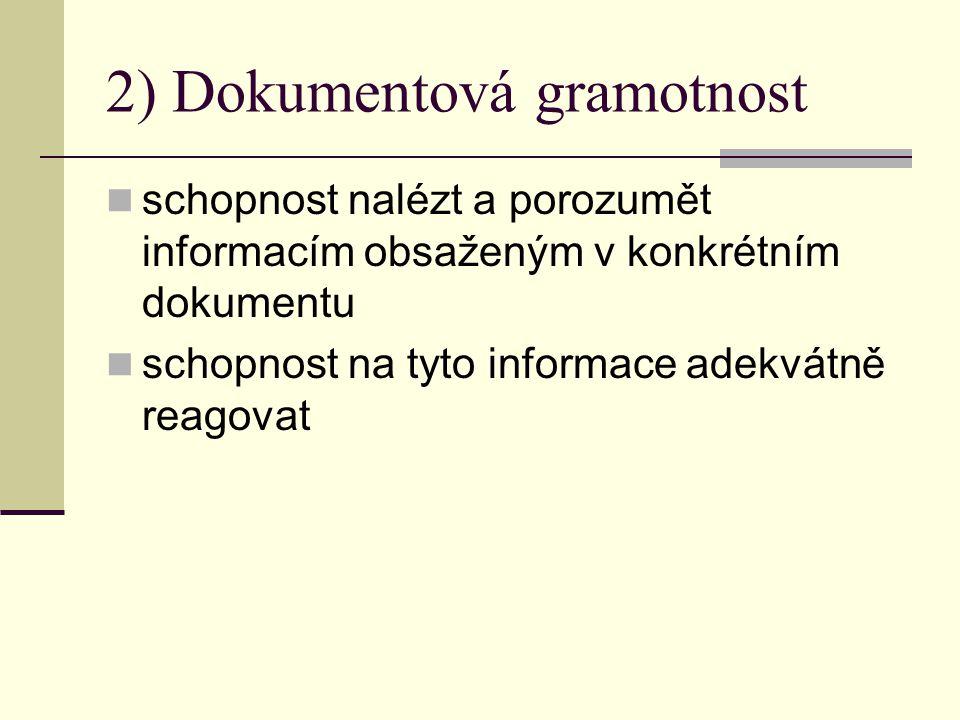 1) Literární gramotnost schopnost nalézt a porozumět informacím z textů, které nejsou určeny jako primární informační zdroje (texty v novinách – úvodníky, komentáře, eseje, texty v časopisech, publikacích apod.).