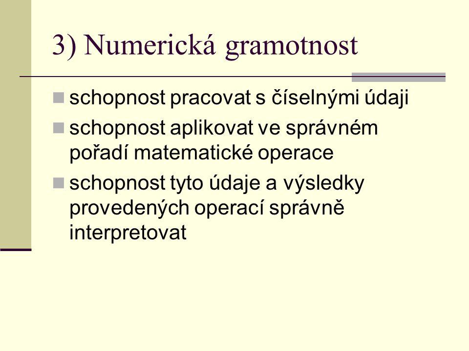 3) Numerická gramotnost schopnost pracovat s číselnými údaji schopnost aplikovat ve správném pořadí matematické operace schopnost tyto údaje a výsledky provedených operací správně interpretovat