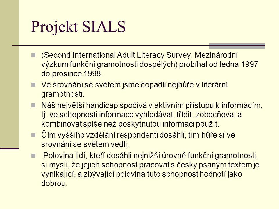 Projekt SIALS (Second International Adult Literacy Survey, Mezinárodní výzkum funkční gramotnosti dospělých) probíhal od ledna 1997 do prosince 1998.