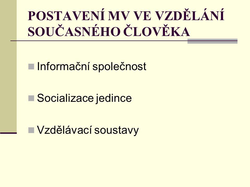 POSTAVENÍ MV VE VZDĚLÁNÍ SOUČASNÉHO ČLOVĚKA Informační společnost Socializace jedince Vzdělávací soustavy