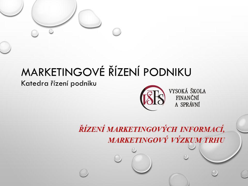 MARKETINGOVÝ VÝZKUMNÝ SYSTÉM Zahrnuje systematické určování, sběr, analýzu a vyhodnocování informací a závěrů odpovídajících určité marketingové situaci, před kterou společnost stojí.