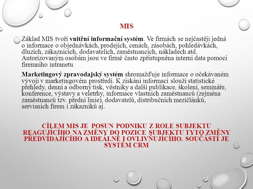 MIS Základ MIS tvoří vnitřní informační systém. Ve firmách se nejčastěji jedná o informace o objednávkách, prodejích, cenách, zásobách, pohledávkách,